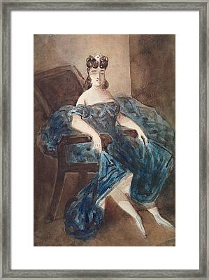 Woman Seated In An Armchair Wc On Paper Framed Print by Constantin Guys