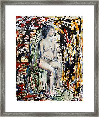 Woman Seated Waiting Among Thorns Framed Print by Brenda Clews