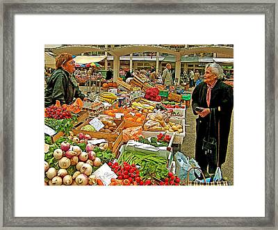 Woman Selling Produce And Eggs At Wednesday Market In Cascais-portugal Framed Print by Ruth Hager