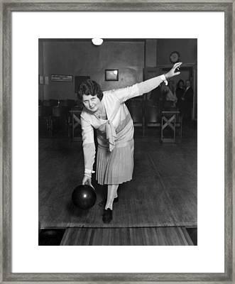 Woman Sets Bowling Record Framed Print