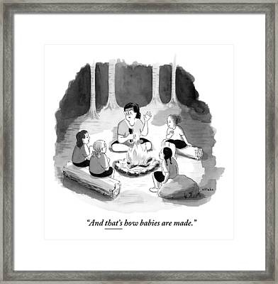 Woman Sitting Around Campfire With Four Children Framed Print by Emily Flake
