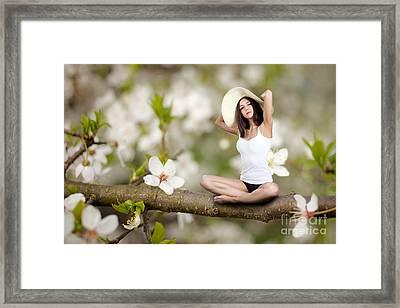Woman Sitting On Tree Framed Print by Aleksey Tugolukov