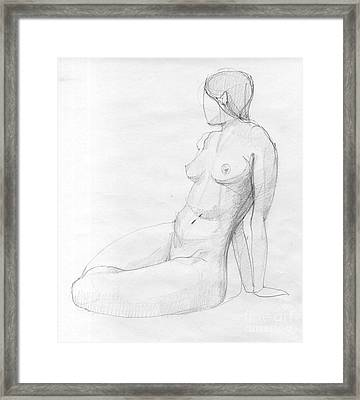 Woman Sketch Framed Print by Peut Etre