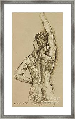 Framed Print featuring the drawing Woman Sketch by Rob Corsetti
