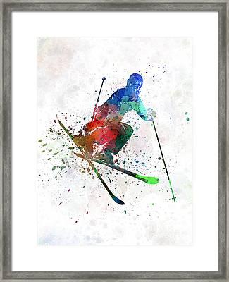 Woman Skier Freestyler Jumping Framed Print