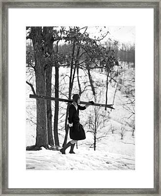 Woman Skier To Compete Framed Print