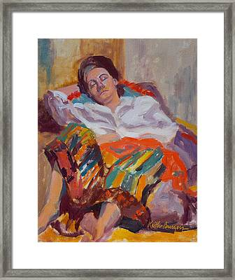 Woman Sleeping Framed Print by Keith Burgess