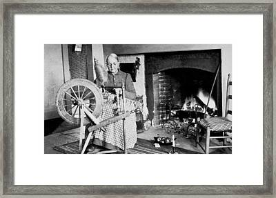 Woman Spinning Wool Framed Print by Mountain Studio