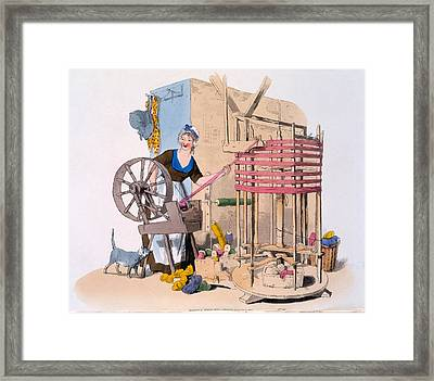 Woman Spinning Wool Onto A Rotating Framed Print by William Henry Pyne