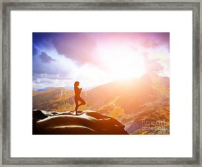 Woman Standing In Tree Yoga Position Meditating In Mountains At Sunset Framed Print