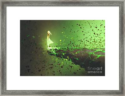 Woman Standing Lonely On The Edge Of A Framed Print by Tithi Luadthong
