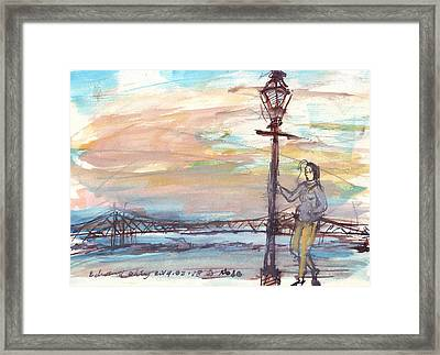Woman Standing Near Mississippi River Framed Print by Edward Ching