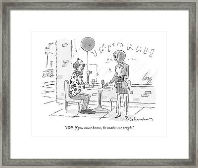 Woman Talking To A Clown Sitting At A Cafe Table Framed Print