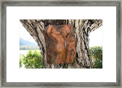 Woman Torso Relief Framed Print by Flow Fitzgerald