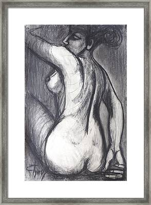 Woman Turning Her Back - Female Nude Framed Print