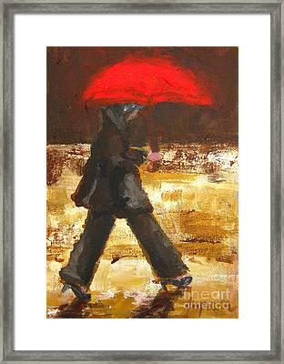 Woman Under A Red Umbrella Framed Print by Patricia Awapara