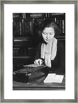 Woman Using A Comptometer Framed Print by Underwood Archives