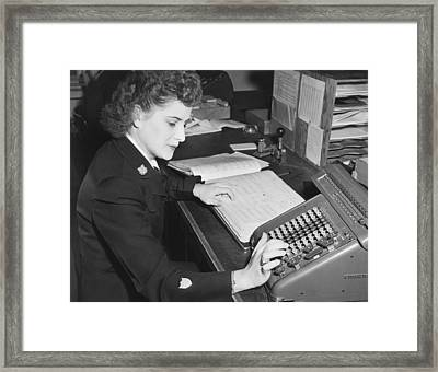 Woman Using Rotary Calculator Framed Print
