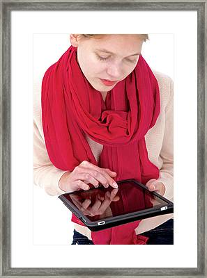 Woman Using Tablet Computer Framed Print by Lea Paterson