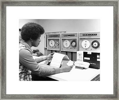 Woman Using Tape Drive Framed Print