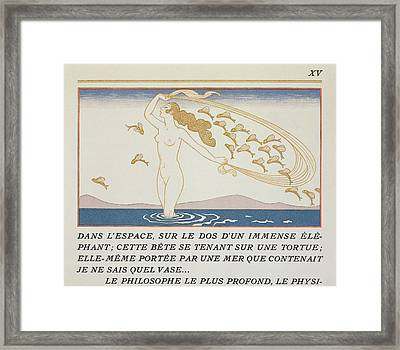 Woman Wading Through Water Framed Print by Georges Barbier