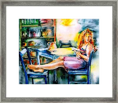 Woman Waiting No 2 Framed Print by Trudi Doyle