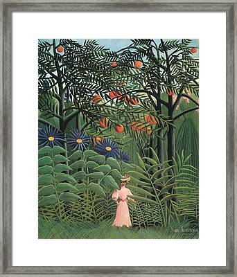 Woman Walking In An Exotic Forest Framed Print by Henri Rousseau