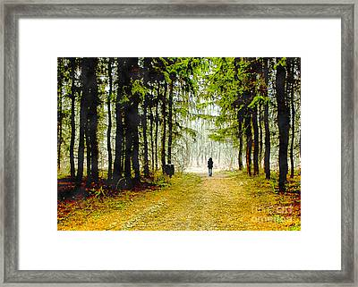 Woman Walking In The Woods Framed Print by Odon Czintos