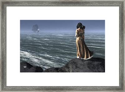 Woman Watching A Ship Sailing Away Framed Print by Daniel Eskridge