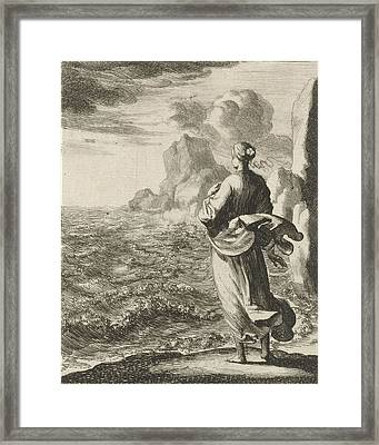 Woman Watching From The Shore Out To Sea Framed Print