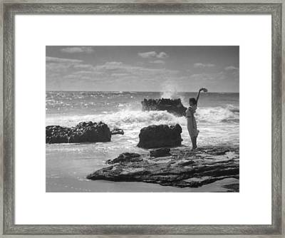 Woman Waving On Shore Framed Print by Underwood Archives