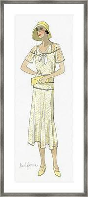 Woman Wearing A Dress By Redfern Framed Print