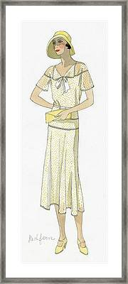 Woman Wearing A Dress By Redfern Framed Print by David