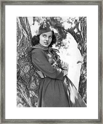 Woman Wearing Military Clothes Framed Print by Underwood Archives