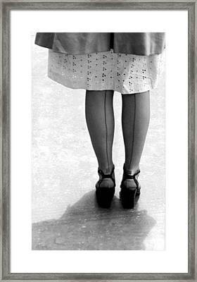 Woman Wearing Nylon Stockings Framed Print