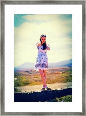 Woman Wearing Summer Dress Framed Print