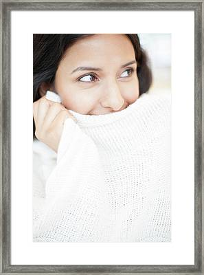 Woman Wearing White Jumper Framed Print