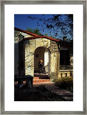 Woman Wheelchair On Front Porch Framed Print