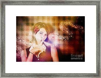 Woman Whispering A Magical Secret Framed Print