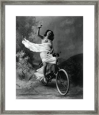 Woman - Wine - Bicycle  1897 Framed Print