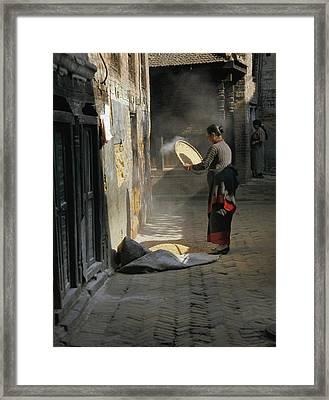 Woman Winnowing Framed Print