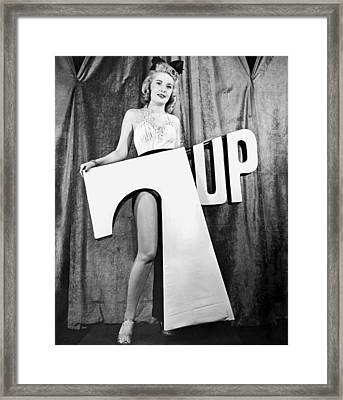 Woman With 7 Up Logo Framed Print by Underwood Archives