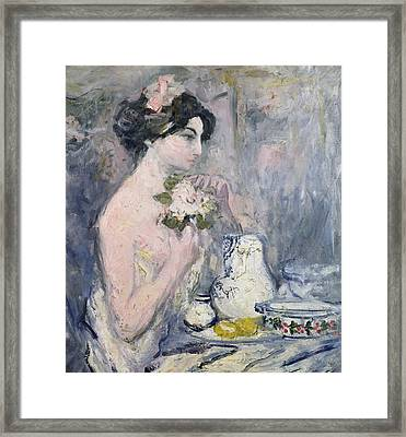 Woman With A Bouquet Framed Print by Pierre Laprade
