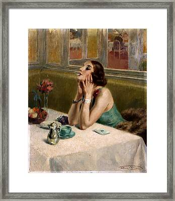Woman With A Cigarette Framed Print by Henri Thomas
