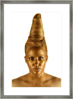 Woman With A Golden Face Framed Print by Darren Greenwood