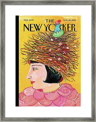Woman With A Hat That Looks Like A Birds Nest Framed Print by Maira Kalman