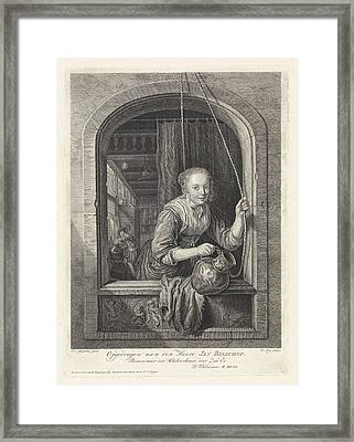 Woman With A Jug In A Window, Robbert Muys Framed Print by Robbert Muys And Jan Bisshop