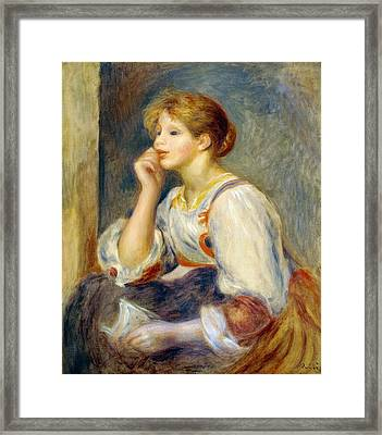 Woman With A Letter Framed Print by Pierre-Auguste Renoir