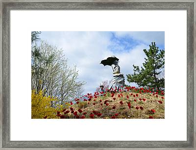 Woman With A Parasol And Her Son Framed Print by Bill Cannon