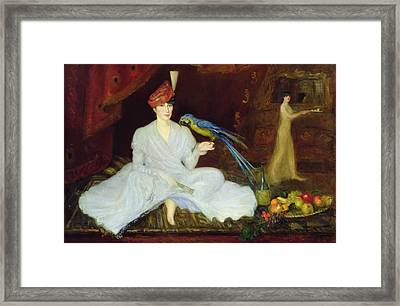 Woman With A Parrot, 1905 Oil On Canvas Framed Print